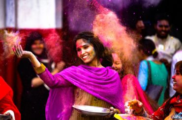 woman at holi festival in India